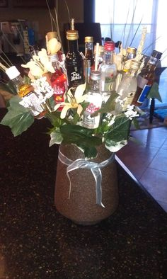 A new twist to flower bouquets.  A stock the bar couples shower maybe?