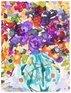 """Daily Paintworks - """"September Teal Vase"""" - Original Fine Art for Sale - © Kelly Alge"""