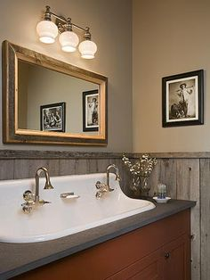 Bathroom sink. love the look of the farmhouse sink in the bathroom.