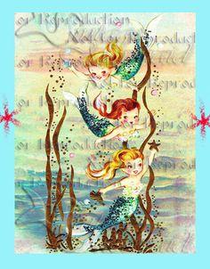 VINTAGE RETRO MERBABIES Mermaids Postcard by MERMAIDSFABRIC