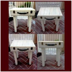 I found a bunch of old briefcases & luggage at a yard sale for $5 each, so this one I turned into a end table. My neighbor was throwing out some cheap furniture so I took the legs & drilled small holes in briefcase & attached the legs. I antique painted it off white & clear varnish. It opens up for storage :)