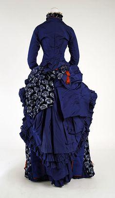 Dress: Bustle Train 1880, American, Made of silk