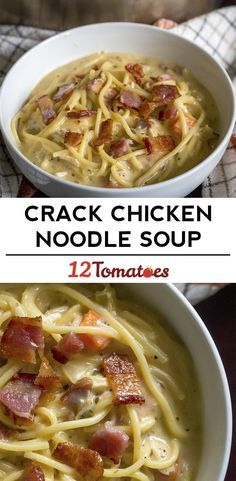 Crack Chicken Noodle Soup Can also use angel hair pasta, other cheese and meats Baked Chicken Spaghetti, Spaghetti Noodles, Spaghetti Soup, Boiled Chicken, Spaghetti Squash, Crack Chicken Noodle Soup, Turkey Noodle Soup, Chicken Noodles, Zucchini Noodles