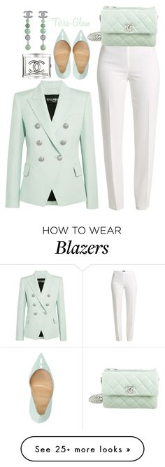 """""""Mint Condition"""" by terra-glam on Polyvore featuring Balmain, Basler, Chanel and Christian Louboutin"""