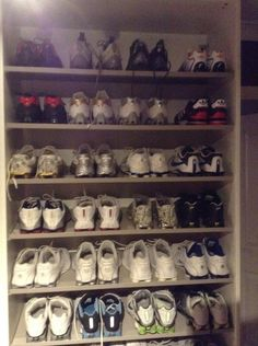 Two rows Adidas mega bounce reversables top row and Adidas Porsche. The rest shox
