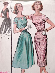 Vintage McCall's 3971 Sewing Pattern, 1950s Dress Pattern, Full Skirted Dress, Bust 38, Slim Skirted Dress, 1950s Sewing Pattern, V Back by sewbettyanddot on Etsy