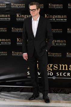 Colin Firth might be suited and booted throughout his new film Kingsmen: The Secret Service, but the Single Man star keeps it red carpet casual by loosening his collar and pairing with some excellent eyewear at a photo call in Madrid.