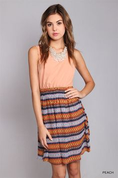 """Nizhoni"" Chevron Print A-line Dress $36.00"