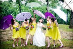 Chartreuse bridesmaids' dresses, purple umbrellas www ...