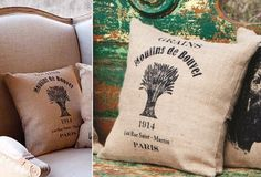 Printed Feed Sack Pillow - Grain Sack - From Antiquefarmhouse.com - http://www.antiquefarmhouse.com/current-sale-events/architectural-accents3/printed-feed-sack-pillow-grainsack.html