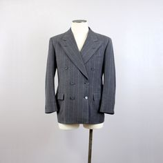 Mens Vintage 1940s Blazer - Double Breasted Pin Stripe by LivingThreadsVintage