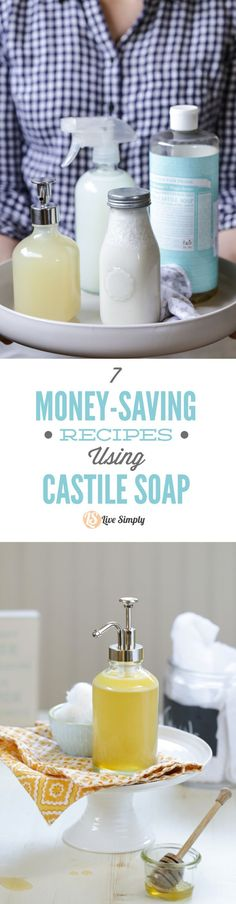 7 Money-Saving Recipes Using Castile Soap! So many amazing, natural uses for castile soap. I love the bathroom cleaner, face wash, and hand soap. So many more you can make with just one bottle of castile soap.me/… Source by OneECommunity Homemade Cleaning Products, Cleaning Recipes, Natural Cleaning Products, Cleaning Tips, Natural Products, Green Products, Green Cleaning, Diy Shampoo, Homemade Beauty