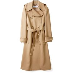 See by Chloé Soft Camel Double Breasted Belted Coat (27.740 RUB) ❤ liked on Polyvore featuring outerwear, coats, jackets, coats & jackets, women, beige coat, double breasted belted coat, belted coat, camel coat and belted camel coat