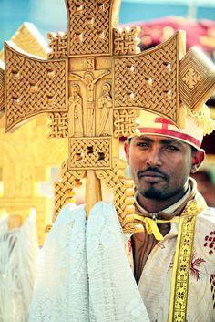 Ethiopian cross and priest