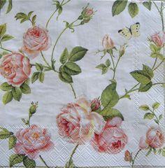 Rambling Rose Cream pink luxury paper napkins new 20 | eBay
