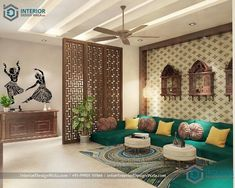 Drawing Room Interior Zeichenraum_interior_design_in_rajasthani_themed_designed_by_interior_design_w Living Room Partition Design, Room Partition Designs, Living Room Sofa Design, Bedroom Furniture Design, My Living Room, Interior Design Living Room, Living Room Designs, Partition Ideas, Drawing Room Furniture