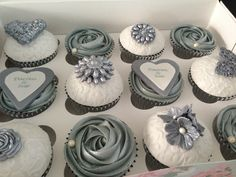 silver wedding cupcakes, so awesome! Don't forget personalized napkins for all…