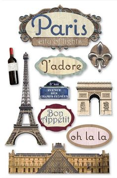 Paper House 3D stickers | Paper House Travel Vacation Paris Scrapbook 3D Stickers Glitter Gems ...