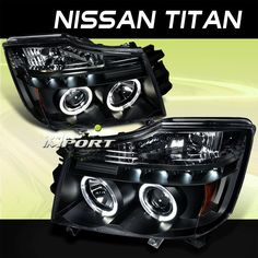 2004 2007 Nissan Titan Black LED Halo Projector Headlights Pair Driver Passenger | eBay