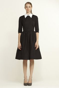 Black Dress With Two Detachable Collars and Cuffs