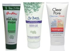 Queen Helene's Mint Julep Masque, St. Ives Mineral Clay Firming Masque, and Neutrogena Clear Pore Cleanser/Mask