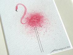 flamingo pink original illustration watercolor artwork | Etsy