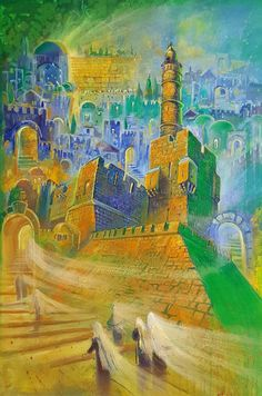Shabbat in Jerusalem Modern Abstract Contemporary Jewish Painting available as print on Canvas or Metal, Judaic Fine Art Made in Israel Canvas Size, Oil On Canvas, Canvas Prints, New Jerusalem, Jewish Art, Online Gallery, Contemporary, Modern, Art Lessons