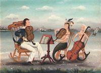 Mermaids and sailors playing violins and cello von Ralph Eugene Cahoon Jr.