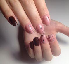 Accurate nails, Beautiful autumn nails, Burgundy nails ideas, Medium nails, Nails of natural shades, Original nails, Painted nail designs