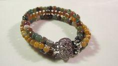 Fancy Jasper triple strand bracelet by yasmi65 on Etsy, $17.00