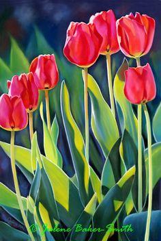 Hello Spring A Fine Art Print of a Tulip Garden by ArtByJulene