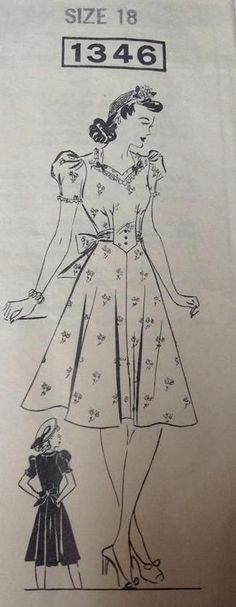 Vtg 30s 40s Mail Order Sewing Pattern Sz 18 Misses Dress Bow Trimmed Frock