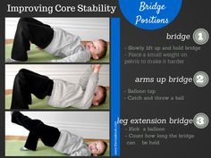 Core exercises and has norms for holding plank.Bridge exercises to improve a child's core strength Occupational Therapy Activities, Pediatric Occupational Therapy, Physical Education Games, Physical Activities, Motor Activities, Dementia Activities, Health Education, Core Strength Exercises, Strength Workout