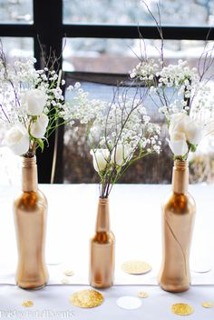 Anniversary party idea - Roses and Baby's breath - pretty! Whichever anniversary - match the color of the bottles to the year (Gold = or to the couples colors. 50th Wedding Anniversary Decorations, 50th Anniversary Decorations, Wedding Anniversary Celebration, Anniversary Flowers, Golden Wedding Anniversary, Wedding Decorations, Anniversary Ideas, Table Decorations, Wedding Flowers