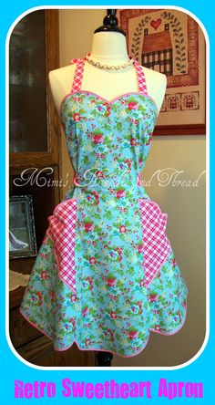 I love making this apron, I feel as though I have stepped back into the 1940s.    This apron is taken from an actual 1940s pattern    I used a beautiful Robins egg blue fabric and paired it with a pretty pink check to make this apron    look at the pictures for more details which I have illustrated for you    easy care machine wash and dry    this apron will fit most with the fabric at the sides that you can adjust to fit you    the front has a pleat all down the front and it gives a place…