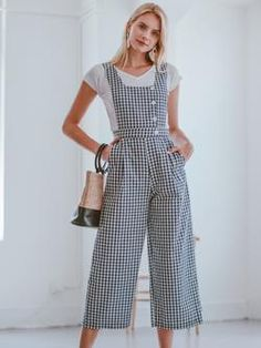 f6ef204efbf Gingham Women Summer Sleeveless Casual Daily Wear Holiday Street  Inspiration Overall Jumpsuit - Office Work Style
