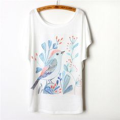2017 Summer Animal T-Shirt Women Tshirt Harajuku Batwing Sleeve Bird Print Graphic Tee Shirt Femme Camisetas Y Tops Plus Size
