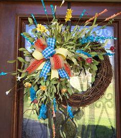 spring/summer floral grapevine wreath