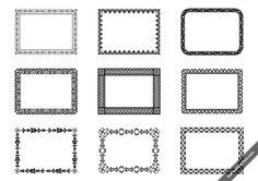 Free set of 9 vector vintage ornament frames in black & white.