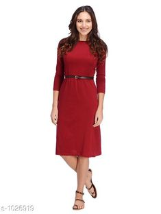 Dresses Women's Solid Red Cotton Dress  *Fabric* Cotton  *Sleeves* Sleeves Are Included  *Size* S - 36 in, M - 38 in, L - 40 in  *Length* Up To 40 in  *Type* Stitched  *Description* It Has 1 Piece Of Women's Dress  *Pattern* Solid  *Sizes Available* S, M, L *    Catalog Name: Cali Fashion Cycle Stylish Dresses Vol 2 CatalogID_124076 C79-SC1025 Code: 703-1026919-