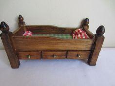 Dollhouse Miniatures WALNUT BEDROOM SET BABY CRIB BED BLANKET CHEST NIB