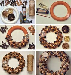 icu ~ Pin on Pine cone wreath ~ Best 12 Beautiful Fast & Easy DIY Pinecone Wreath ( Improved Version!) – A Piece Of Rainbow – SkillOfKing. Acorn Crafts, Pine Cone Crafts, Holiday Crafts, Crafts With Acorns, Pine Cone Decorations, Christmas Decorations, Christmas Ornaments, Diy Christmas Wreaths, Wall Decorations