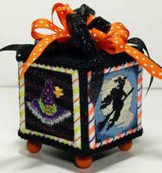 """Needlepoint cube. Cute finishing idea.""  One of our classic clubs; Halloween Presents."