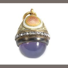 A gold-mounted jewelled enamel and glass miniature pendant egg Fabergé workmaster Henrik Wigström, St. Petersburg, circa 1905
