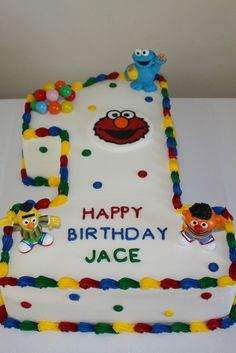 Sesame Street 1st Birthday Cake Sesame Street Birthday Cakes, Sesame Street Cake, 1st Birthday Cakes, Baby Boy 1st Birthday, 1st Boy Birthday, Boy Birthday Parties, Birthday Ideas, Sammy, Elmo Party