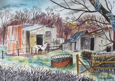 Emily Sutton. Old sheds and cob pony, Stillington