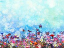 Abstract Watercolor Painting Purple Cosmos Flowers And White Wildflower - Download From Over 63 Million High Quality Stock Photos, Images, Vectors. Sign up for FREE today. Image: 72950487
