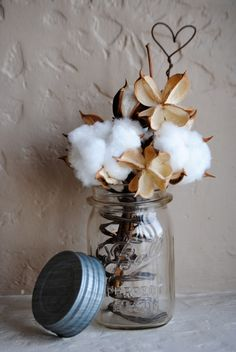 Cotton Boll Arrangement Made with Rustic by kansascottongirls