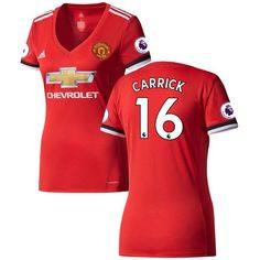 Michael Carrick Manchester United adidas Women's 2017/18 Home Replica Patch Jersey - Red/White - $109.99