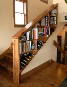Image result for staircase with bookshelf